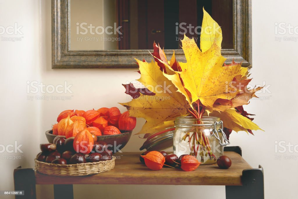 Autumn plant decorations in interior. royalty-free stock photo
