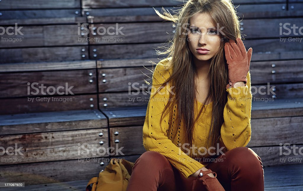 Autumn portrait of a beautiful woman royalty-free stock photo