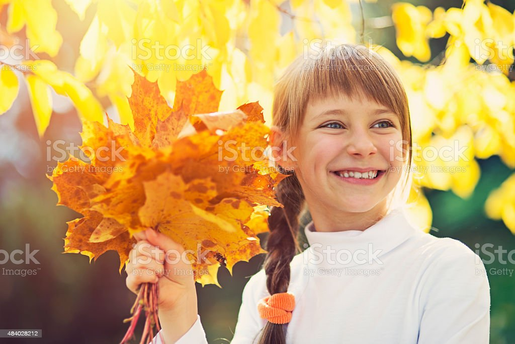 Autumn portrait of a little girl with leaves stock photo