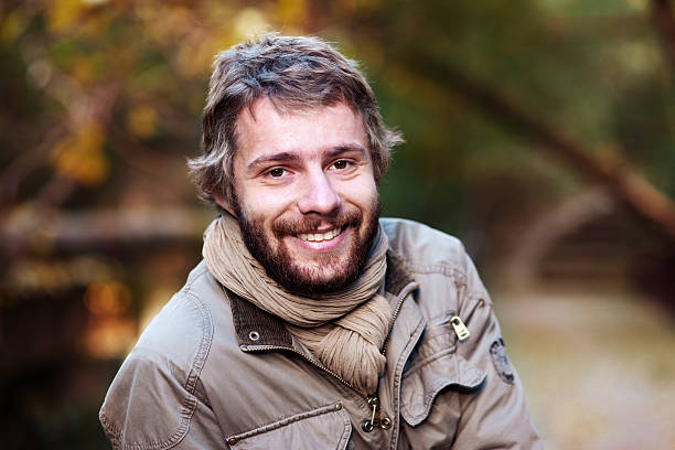 autumn portrait of a man - violetastoimenova stock photos and pictures