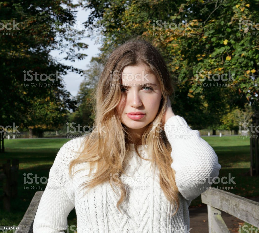 Autumn portrait of a young woman Bulgarian outdoor girl stock photo