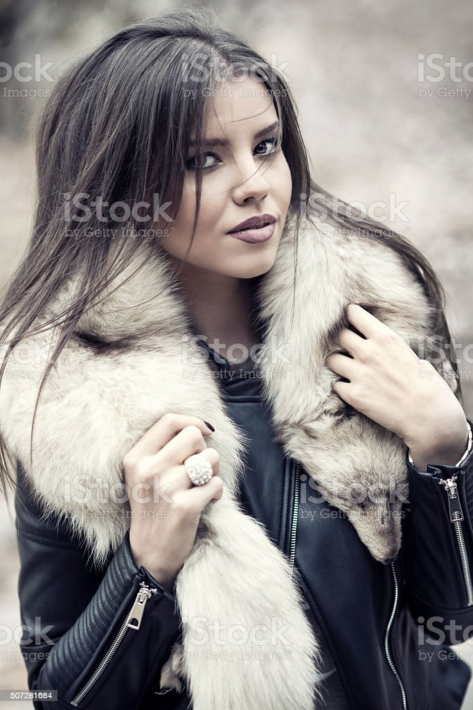 Autumn Portrait of Beautiful and Sensual Brunette Woman stock photo