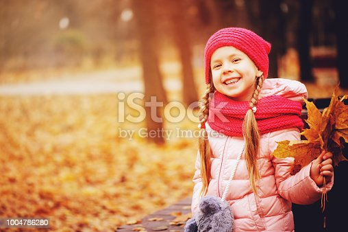istock autumn portrait of smiling child girl with bouquet of leaves, sitting on bench in park in warm knitted hat and scarf, enjoying outdoor walk in sunny day 1004786280