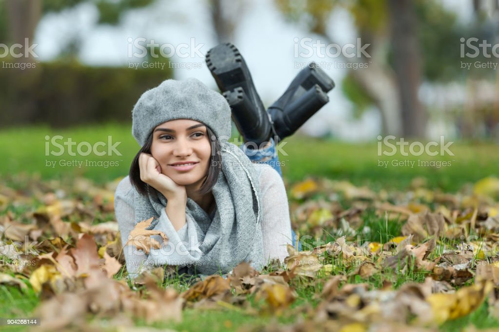 Autumn portrait of young woman stock photo