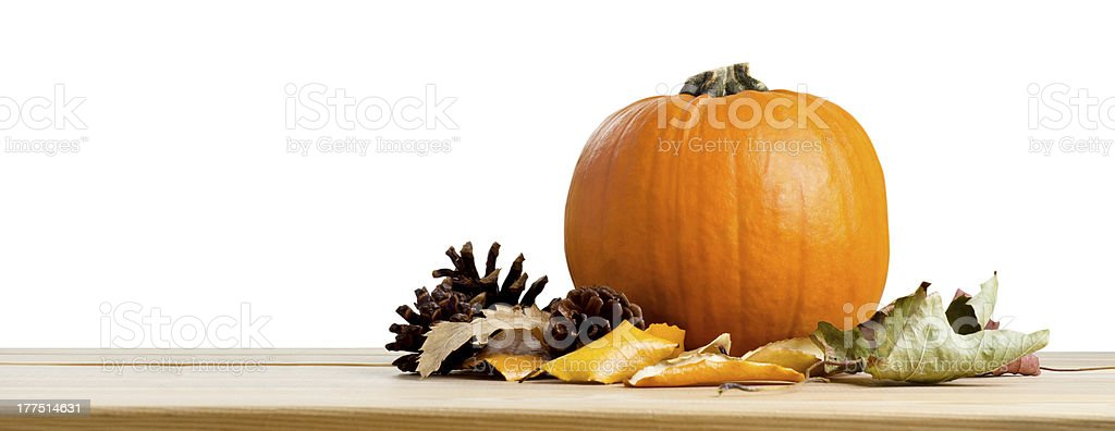Autumn Pumpkin and Leaves royalty-free stock photo
