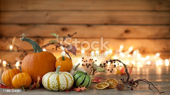 Autumn pumpkins, gourds and holiday decor arranged against an old wood background with glowing Christmas lights. Very shallow depth of field for effect.