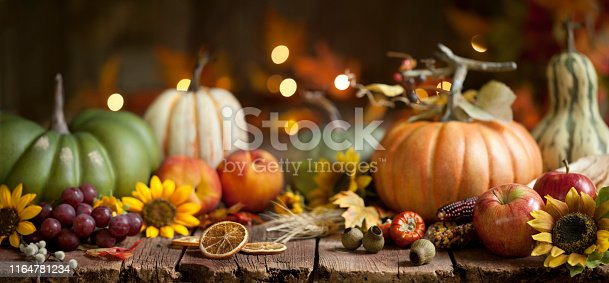 Autumn Thanksgiving pumpkin and leaf arrangement on old wood background with very shallow depth
