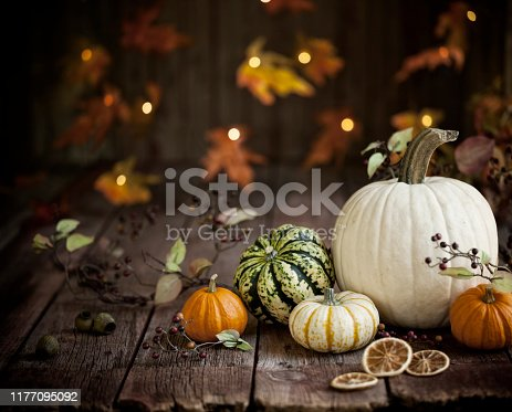 Autumn pumpkins and decor arranged against an old wood background. Very shallow depth of field for effect with plenty of copy