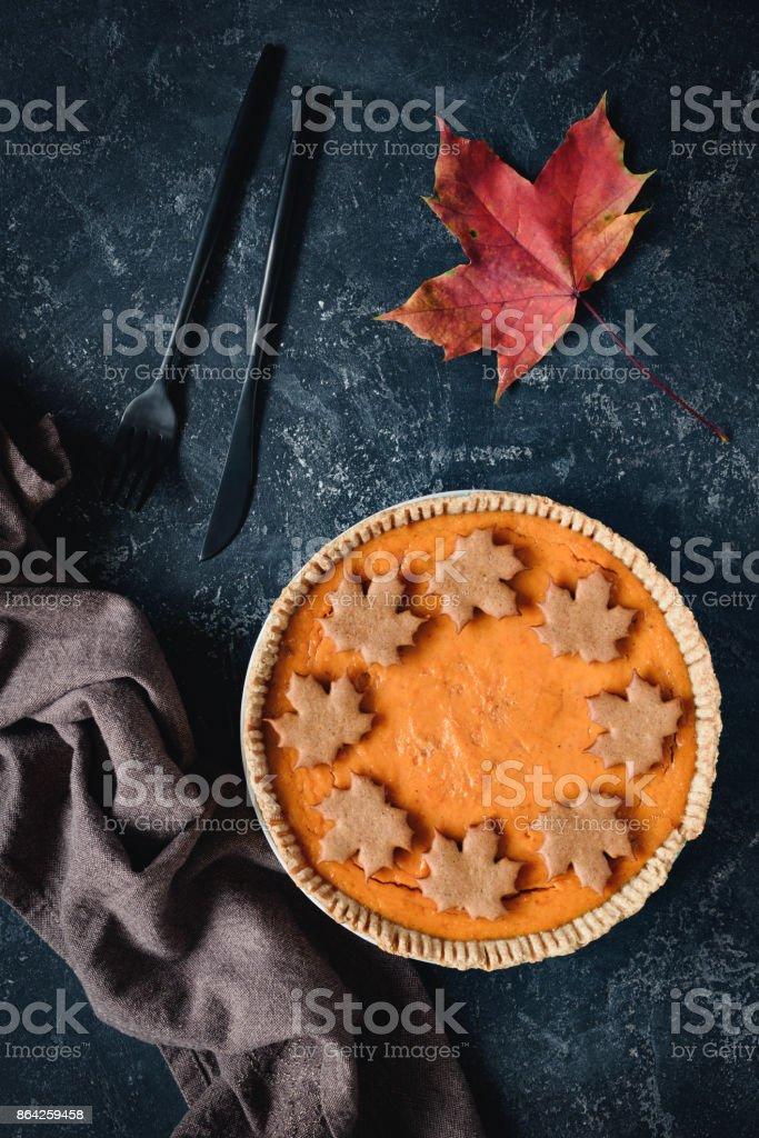Autumn pumpkin pie on stone royalty-free stock photo