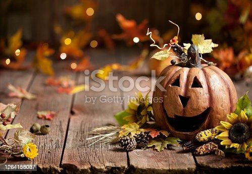 Pumpkin Jack O' Lantern Background on Wood
