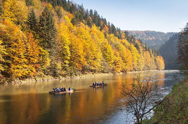 Autumn rafting - Dunajec river stock photo