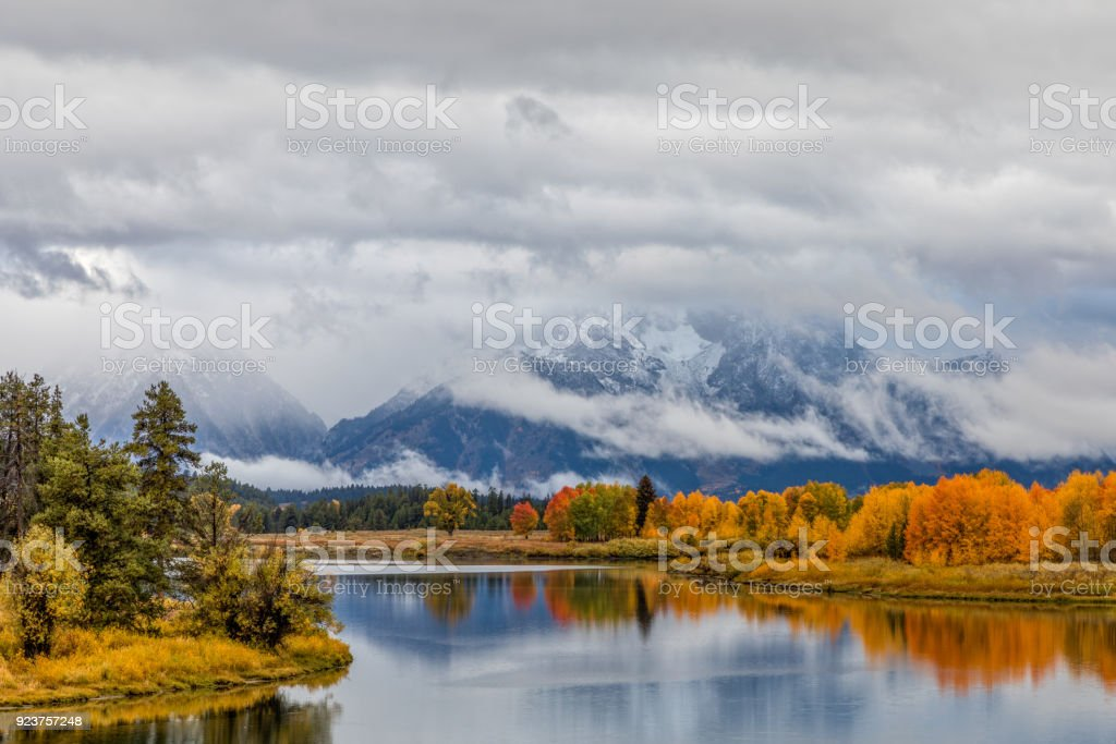 Autumn Reflection at Oxbow Bend stock photo