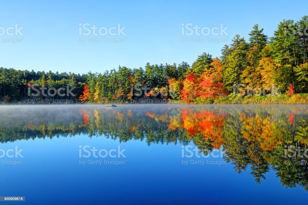 Autumn Reflection in White Mountains region of New Hampshire stock photo