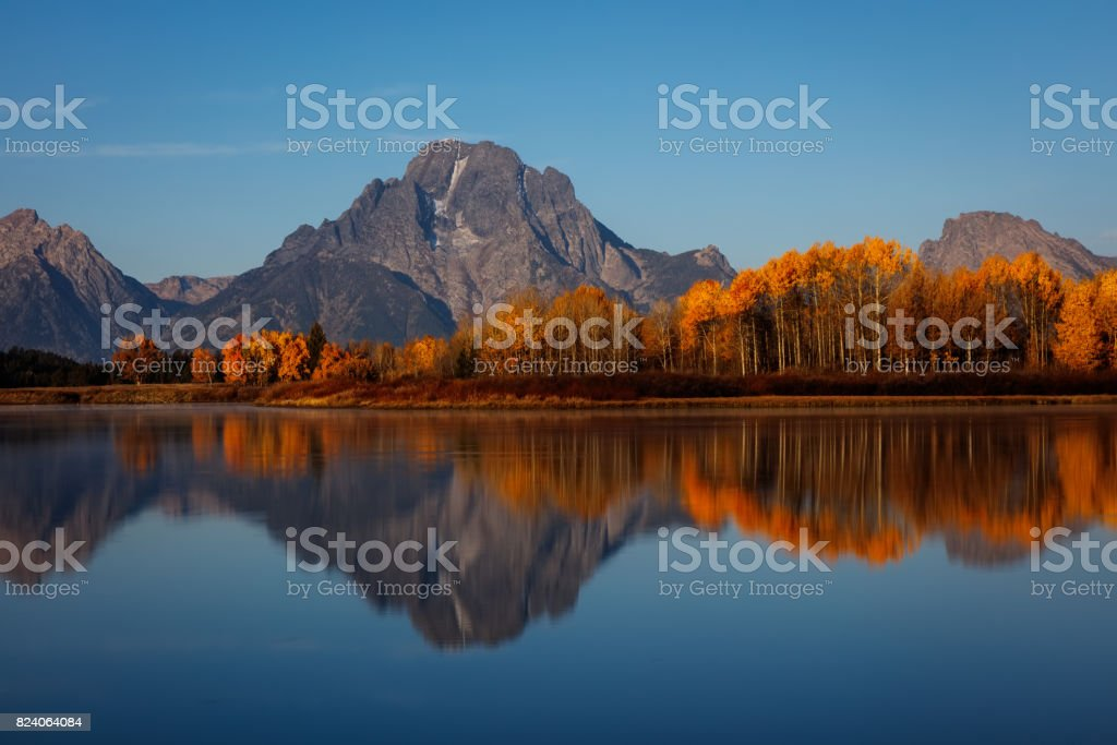 Autumn Reflection of Oxbow Bend in the Snake River stock photo
