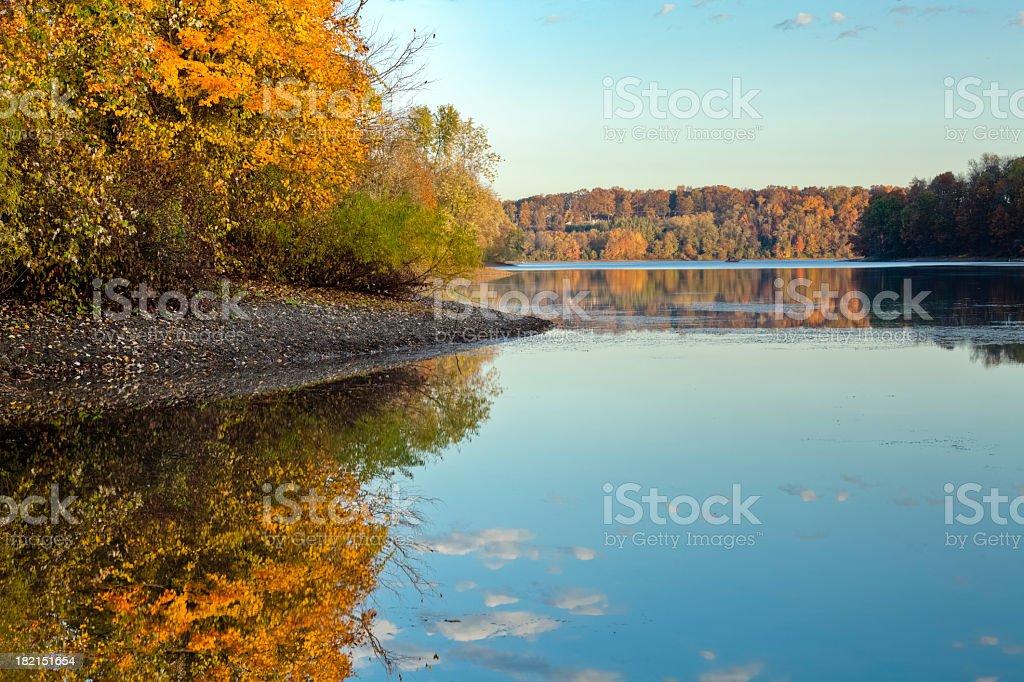 Autumn Reflection on a Lake stock photo