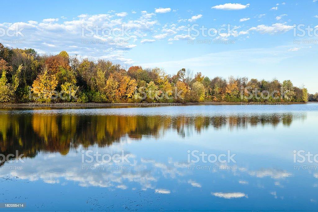 Autumn Reflection with Beautiful Sky stock photo