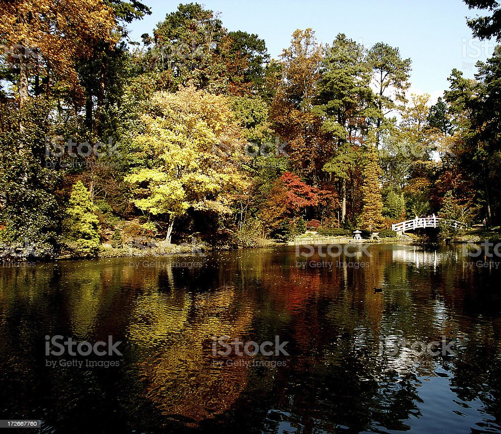 Autumn Reflections & Bridge stock photo