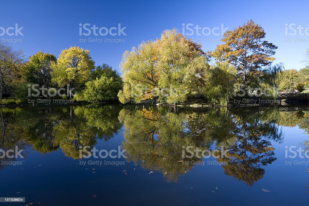 Autumn Reflections in Midwest Lake royalty-free stock photo