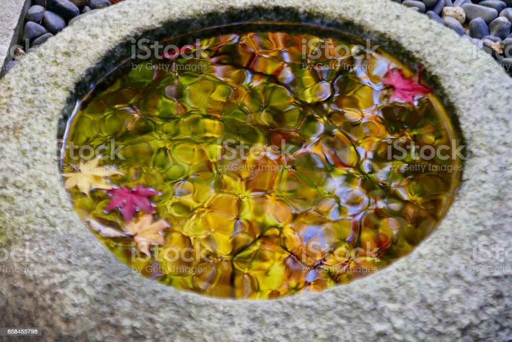Reflections of autumn colours in stone water bowl