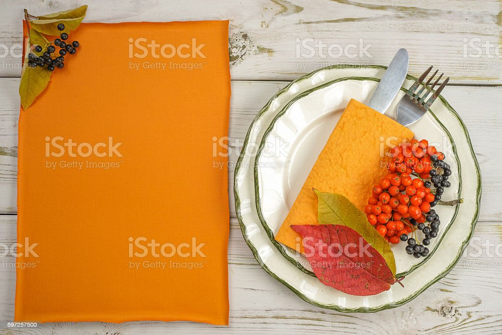Autumn restaurant menu free text copy space and table setting stock photo