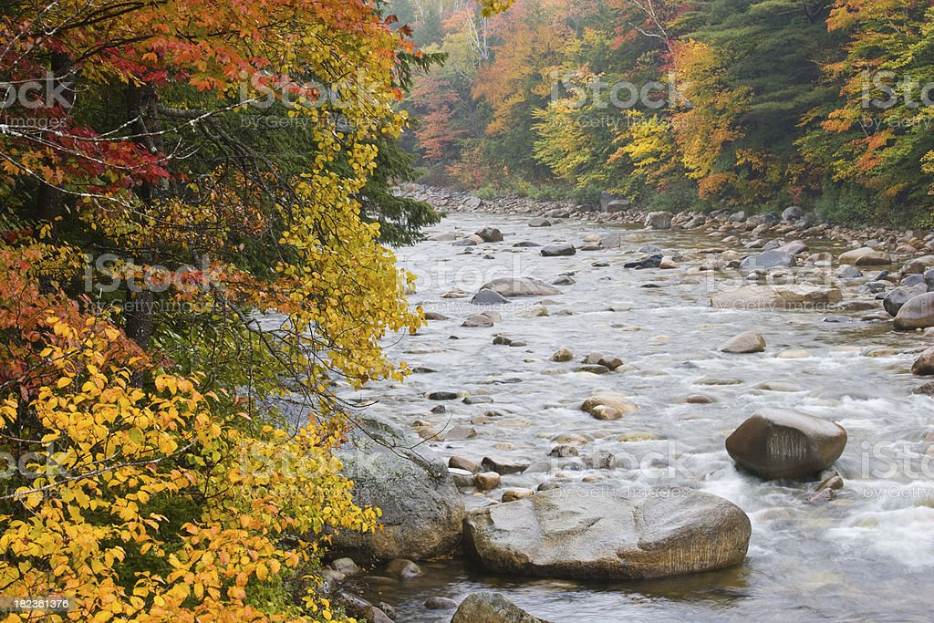Autumn River in New England royalty-free stock photo