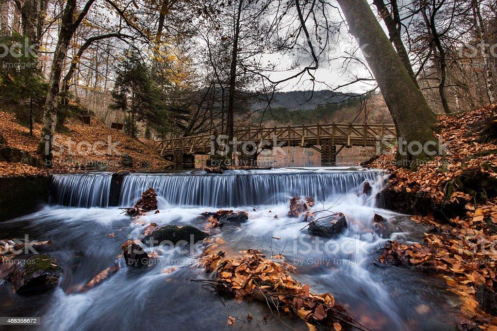 autumn, river, waterfall and bridge The Yedigöller National Park royalty-free stock photo