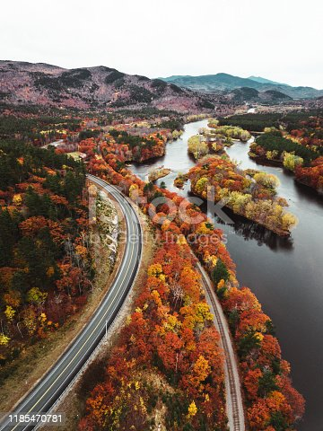 autumn road aerial view in New Hampshire