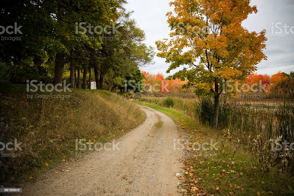 Autumn Road by the Lake royalty-free stock photo