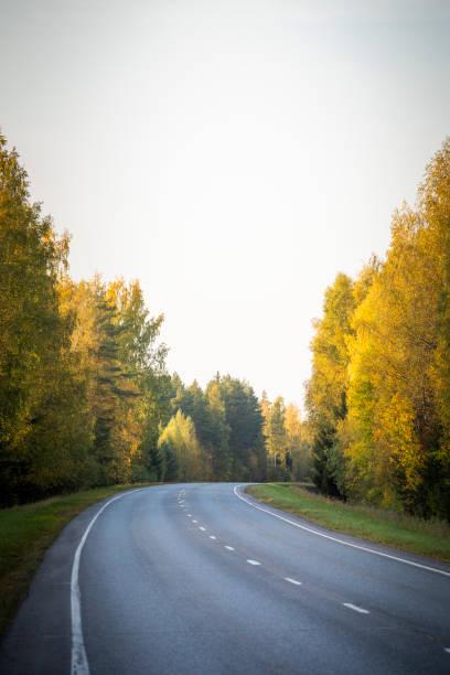 Autumn road in Finland stock photo