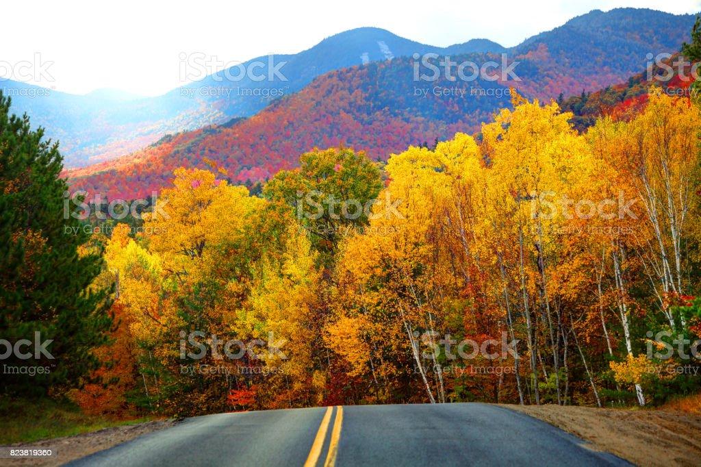 Autumn road in the Adirondacks stock photo