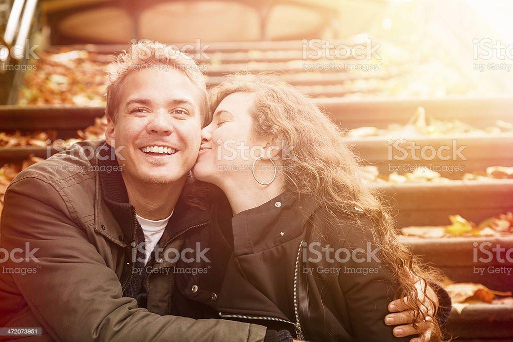 Autumn romance on a park staircase stock photo