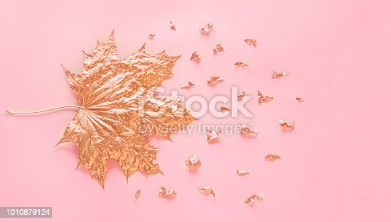 istock Autumn rose gold maple leaf with elements crumbs on pastel pink paper background. Minimal creative concept with space for text. Top view. 1010879124