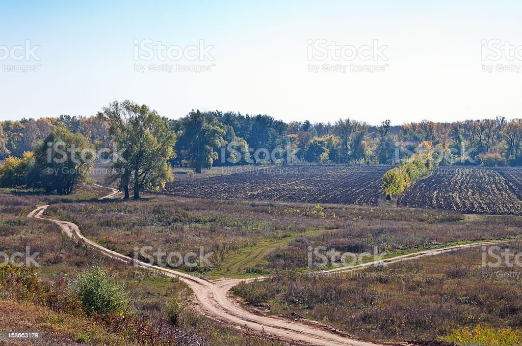 Autumn rural landscape with field road royalty-free stock photo