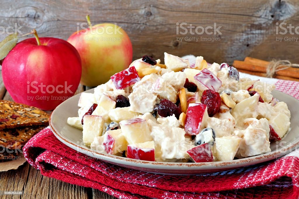 Autumn salad with chicken, apples, nuts, cranberries in yogurt dressing stock photo