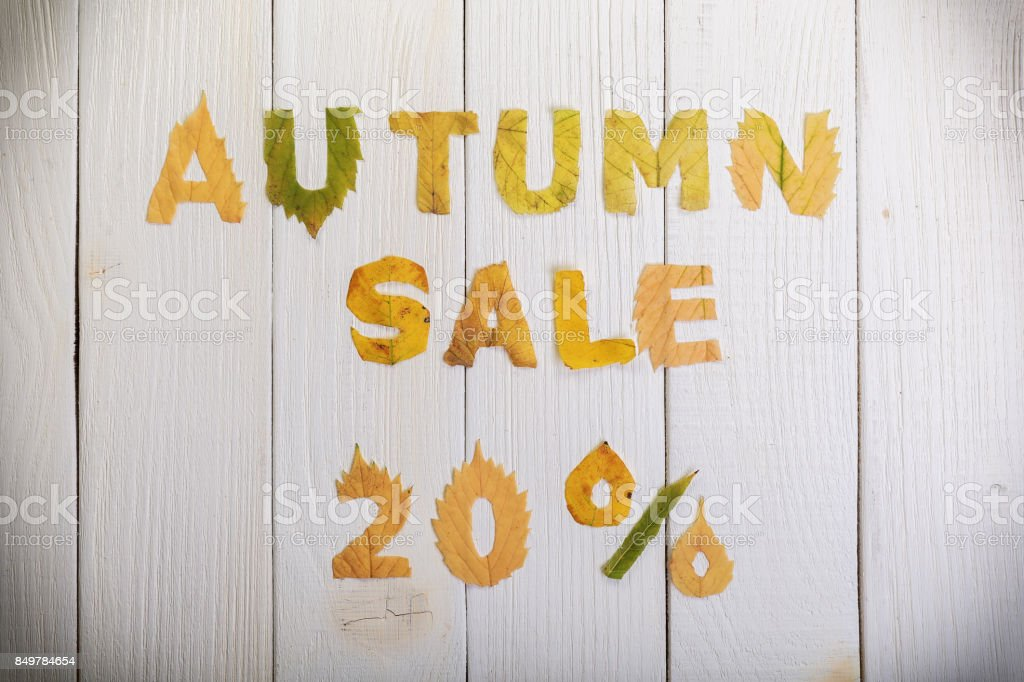 autumn sale 20 percent stock photo