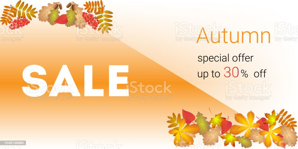 autumn sale banner and discount stock photo