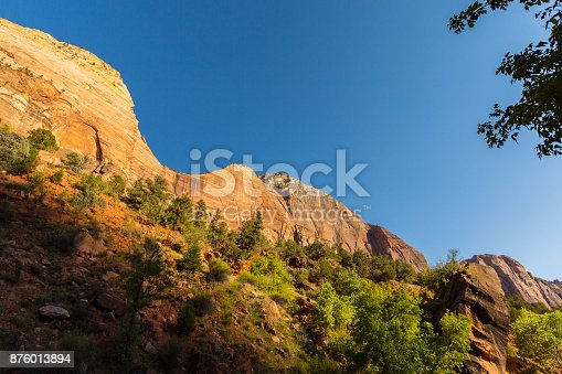 Autumn scenery in Zion National Park, on a bright sunny day