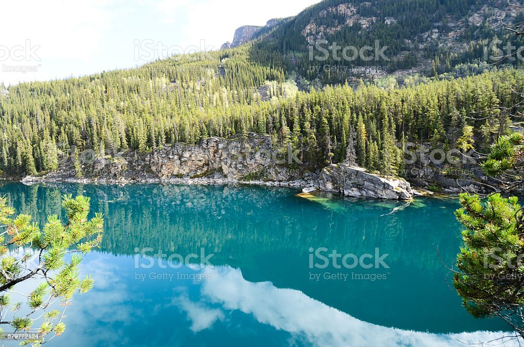 Autumn Scenery of Horseshoe Lake, Canadian Rocky stock photo