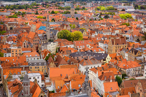 Bruges, Flanders, Belgium, Europe - October 1, 2019. Autumn scenery of medieval world heritage city, Bruges (Brugge) from the Belfry tower aerial view