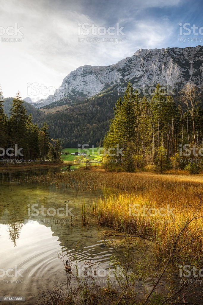 Autumn Scenic - Lake Reflections in Bavaria Germany stock photo