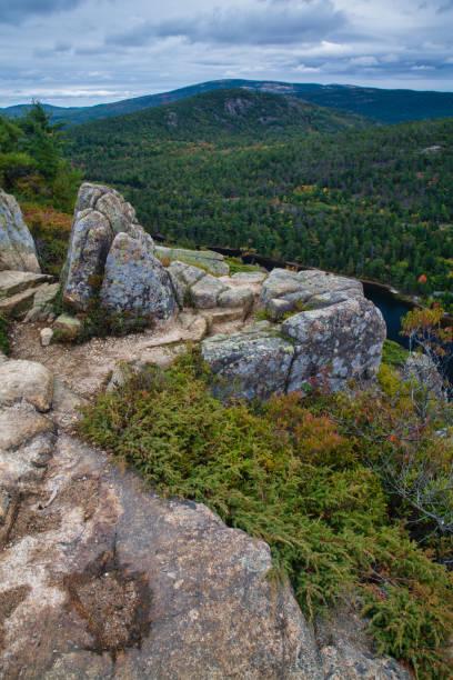 Autumn Scenic View, Beech Mountain Trail in Acadia National Park, Mount Desert Island, Maine stock photo
