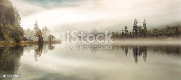 autumn fog over the lake, autumn panorama