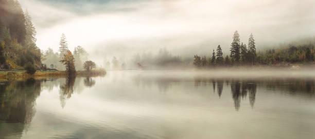 höstsäsongen över sjön - nature foggy calm bildbanksfoton och bilder