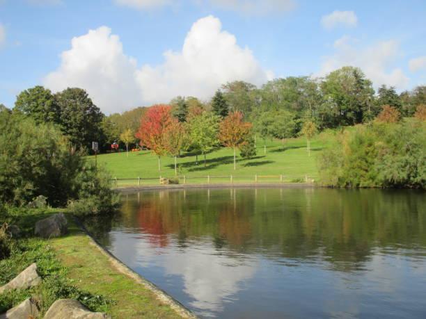 Cтоковое фото Autumn Season  Public Park  Pond  Fall Foliage  Parisian region