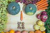 秋野菜組成を背景として使用して完璧