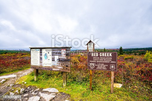 istock Autumn season with trailhead sign for Bear Rocks trail at Dolly Sods Wilderness in West Virginia Monongahela 1326999993