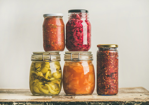 istock Autumn seasonal pickled or fermented vegetables. Home food preserving 879371318