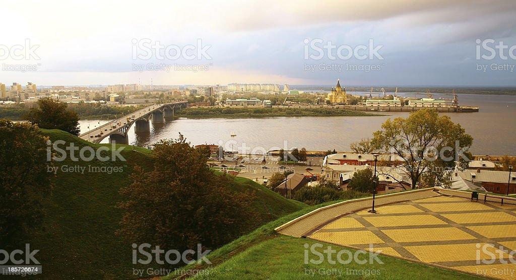 Autumn september sunset in Nizhny Novgorod Russia royalty-free stock photo