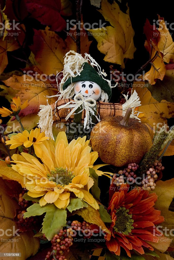 Autumn Series: Scarecrow Flower Arrangement I royalty-free stock photo