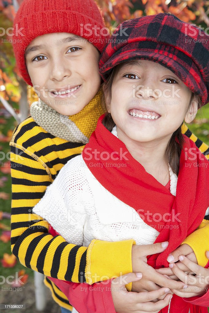 Autumn sibling portrait royalty-free stock photo